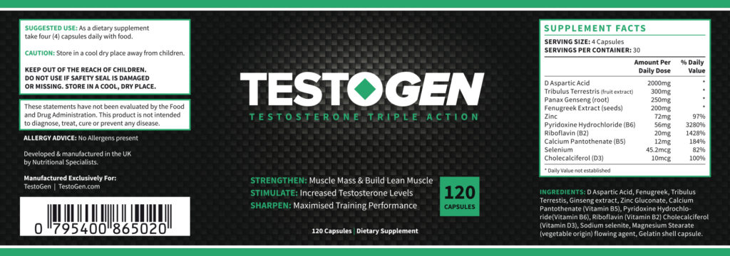 Ingredients of Testogen pills