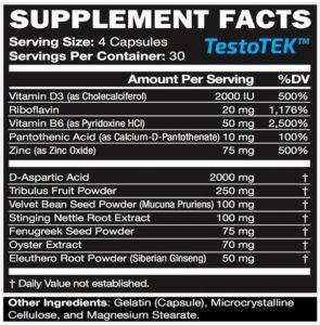 TestoTEK supplement facts